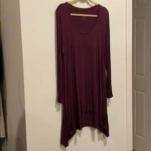 LOGO midi dress purple w long sleeves pockets